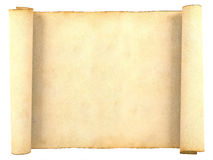 Papel antiguo en blanco viejo de la voluta aislado en el fondo blanco Imagen de archivo