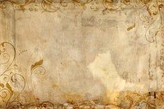 Papel antiguo que ofrece diseño del flourish Foto de archivo libre de regalías