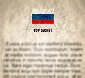 Papel arrugado documento de alto secreto ruso texturizado imagen de archivo libre de regalías