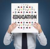 Papel com ícones da educação imagens de stock