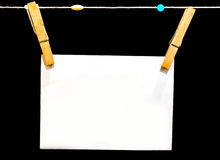 Papel com grampo de madeira Fotografia de Stock