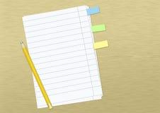 Papel com notas e lápis ilustração stock