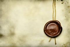 Papel con el sello de la cera Imágenes de archivo libres de regalías