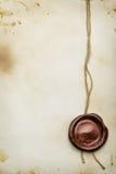 Papel con el sello de la cera Fotografía de archivo libre de regalías