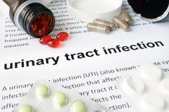 Papel con la infección de vías urinarias y píldoras Foto de archivo