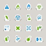 Papel cortado - ícones de advertência Imagens de Stock Royalty Free