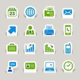 Papel cortado - ícones do escritório e do negócio Imagens de Stock Royalty Free