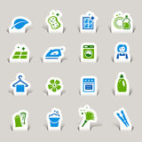 Papel cortado - iconos de la limpieza Fotos de archivo libres de regalías