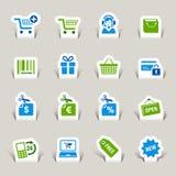 Papel cortado - iconos de las compras libre illustration