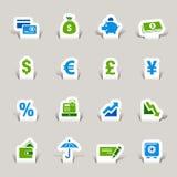Papel cortado - iconos de las finanzas Imagenes de archivo