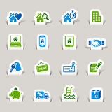 Papel cortado - iconos de las propiedades inmobiliarias libre illustration