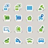 Papel cortado - iconos de las propiedades inmobiliarias stock de ilustración