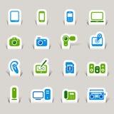Papel cortado - iconos de los media ilustración del vector