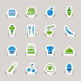 Papel cortado - iconos del alimento Fotografía de archivo libre de regalías