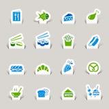 Papel cortado - iconos del alimento Foto de archivo libre de regalías
