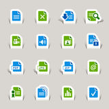 Papel cortado - iconos del formato de archivo Fotografía de archivo