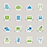 Papel cortado - iconos del hotel Imágenes de archivo libres de regalías