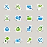 Papel cortado - iconos del Web site y del Internet