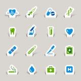 Papel cortado - iconos médicos ilustración del vector
