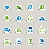 Papel cortado - iconos sociales de los media