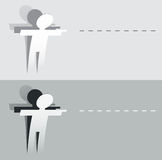 Papel cortado señalando la figura humana Imagen de archivo
