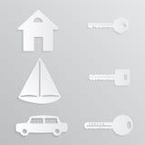 Papel-corte de la llave del coche del yate de la casa Foto de archivo libre de regalías
