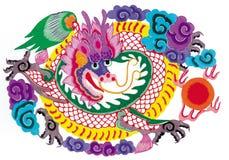 Papel-corte o dragão ilustração stock