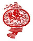 Papel-corte plano rojo en blanco como símbolo del Año Nuevo chino del perro 2018 Fotos de archivo
