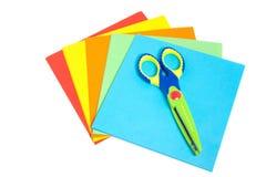 Papel creativo e um scissor Foto de Stock Royalty Free