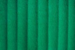 Papel crepom verde com dobras, fundo textured abstrato imagens de stock royalty free