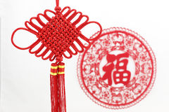 Papel-cut y nudo chino Foto de archivo libre de regalías