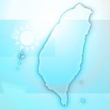 Papel 3D de la tarjeta del mapa de Taiwán natural Imagenes de archivo