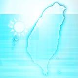 Papel 3D do cartão do mapa de Taiwan natural Foto de Stock