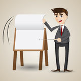 Papel da aleta do homem de negócios dos desenhos animados na placa da apresentação Fotos de Stock