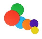 Papel da cor dos círculos isolado no branco fotos de stock