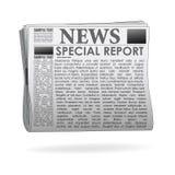Papel da notícia do relatório especial Fotografia de Stock Royalty Free