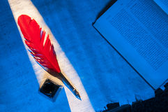 Papel da pena e do papiro Imagem de Stock