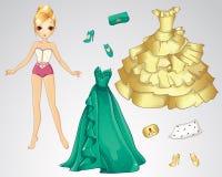 Papel Dall no verde e no vestido do ouro Fotos de Stock