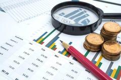 Papel das cartas e de gráficos Financeiro, explicar, estatísticas, dados analíticos da pesquisa e de empresa do negócio conceito  Imagem de Stock