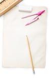 Papel de Brown, ferramentas da escrita da borracha de lápis Fotos de Stock Royalty Free