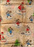 Papel de embalaje adornado de la Navidad Fondo lamentable de la vendimia Fotografía de archivo