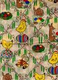 Papel de embalaje adornado de Pascua Fondo lamentable de la vendimia Foto de archivo libre de regalías