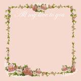 Papel de escribir con un marco hermoso de las flores Fotos de archivo