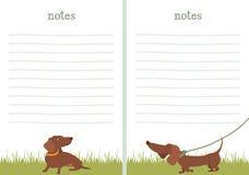 Papel de escribir del papel de nota del perro basset Fotos de archivo