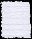 Papel de escribir perforado agujero rasgado Imagen de archivo