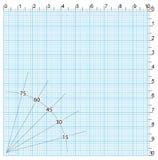 Papel de gráfico da engenharia com graus Fotos de Stock Royalty Free