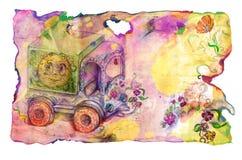 Papel de Grunge com caminhão e flores da criança ilustração do vetor