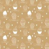 Papel de Kraft inconsútil de la textura con las magdalenas Imagen de archivo