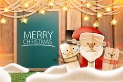 Papel de la historieta de Navidad cortado con el fondo de la pizarra Imagen de archivo