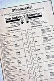 Papel de la tarjeta de la votación para la elección del estado de Hesse en octubre de 2018 imagen de archivo libre de regalías